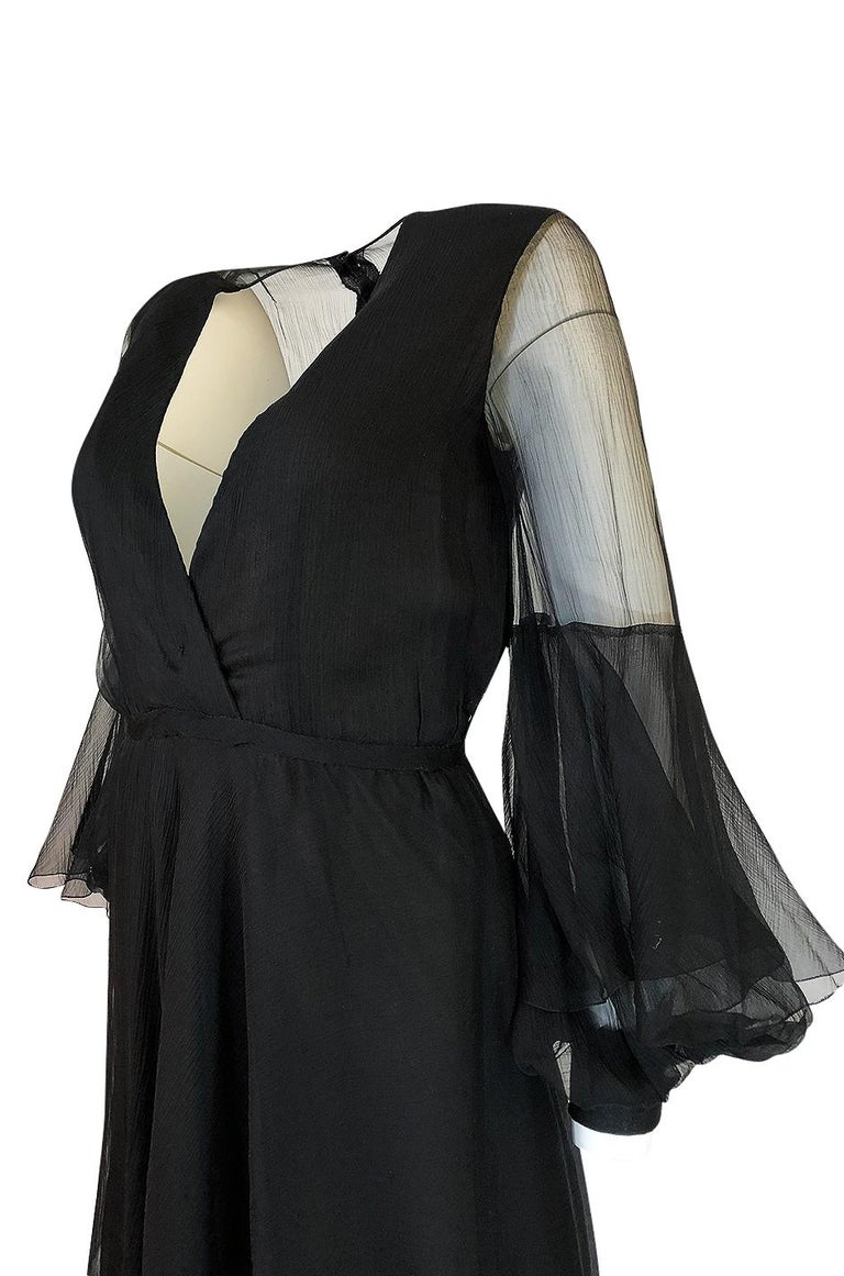 Fall 1972 Christian Dior Haute Couture Black Chiffon Cocktail Dress For Sale 4