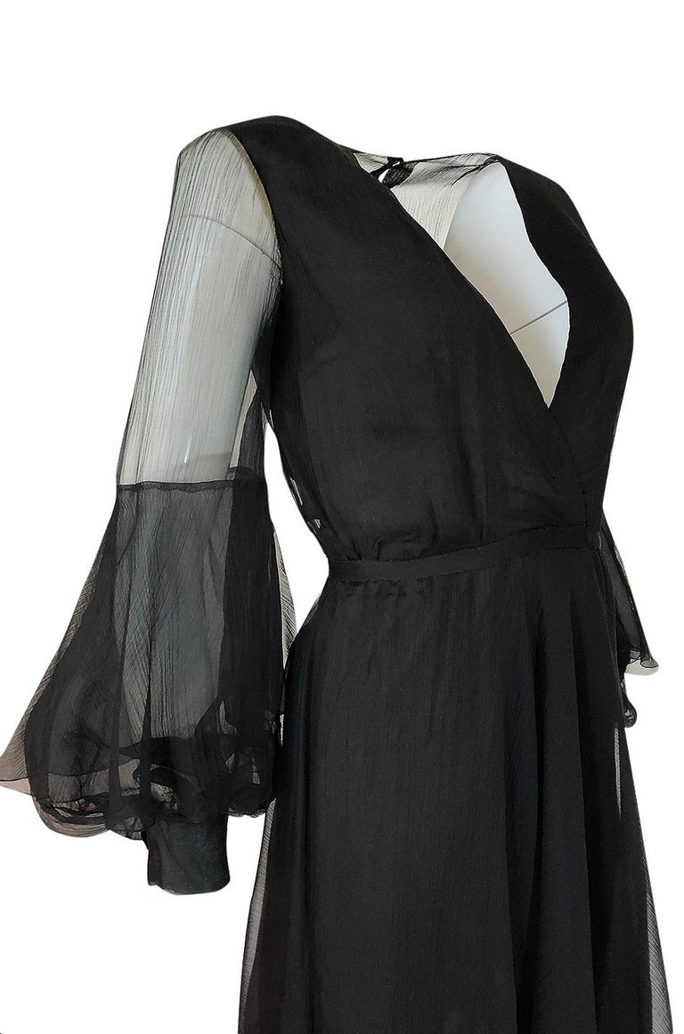 Fall 1972 Christian Dior Haute Couture Black Chiffon Cocktail Dress For Sale 5