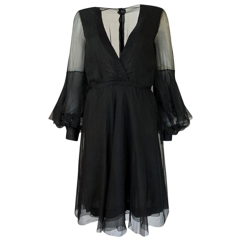 Fall 1972 Christian Dior Haute Couture Black Chiffon Cocktail Dress For Sale