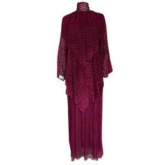 Fall 1980 Christian Dior True Haute Couture Two Piece Silk & Silk Velvet Dress