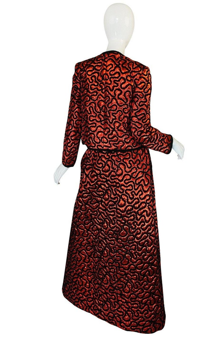 Fall 1981 Chanel Red Lurex and Chenille Cord Skirt and Jacket Set For Sale 8