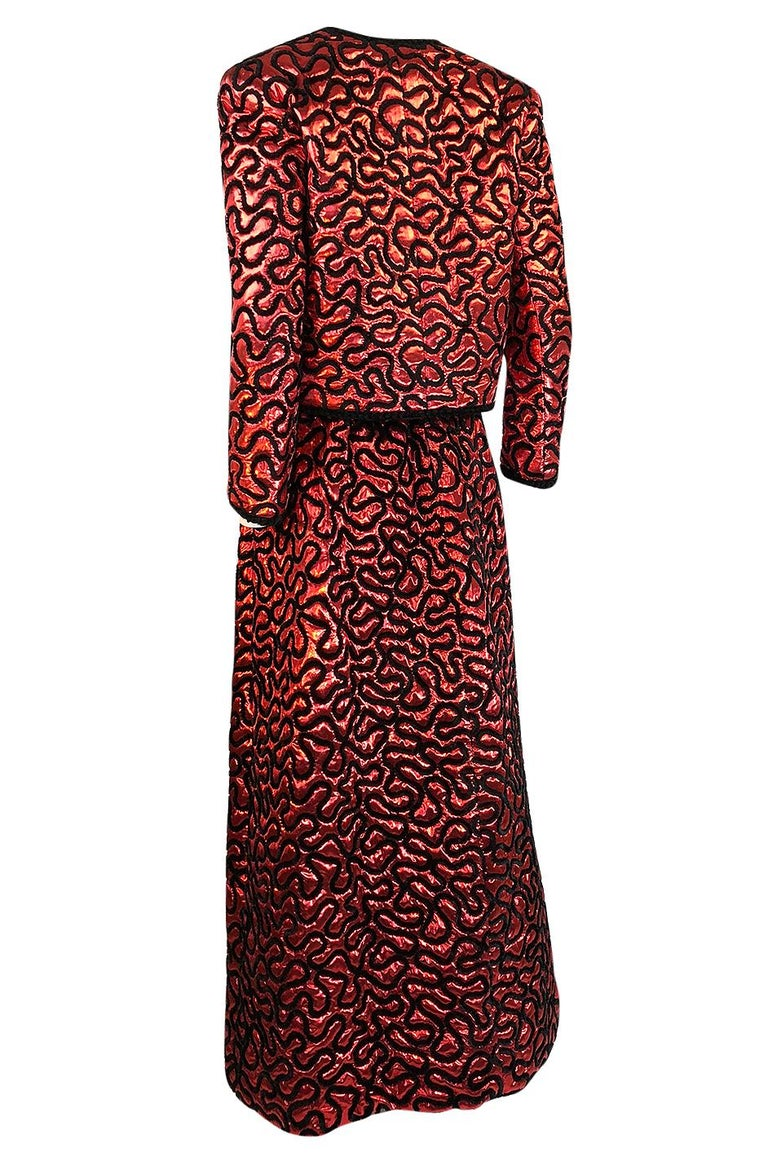 Fall 1981 Chanel Red Lurex and Chenille Cord Skirt and Jacket Set For Sale 1