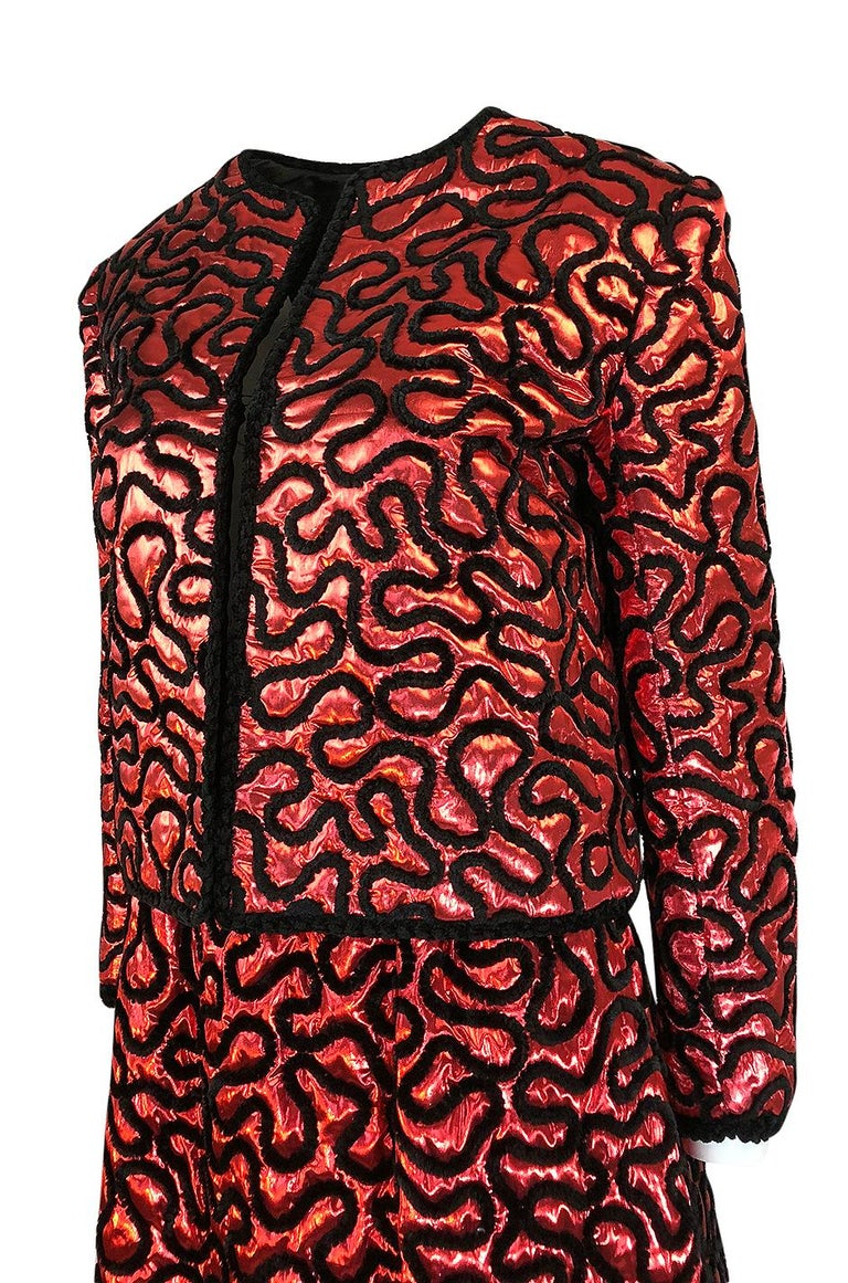 Fall 1981 Chanel Red Lurex and Chenille Cord Skirt and Jacket Set For Sale 3