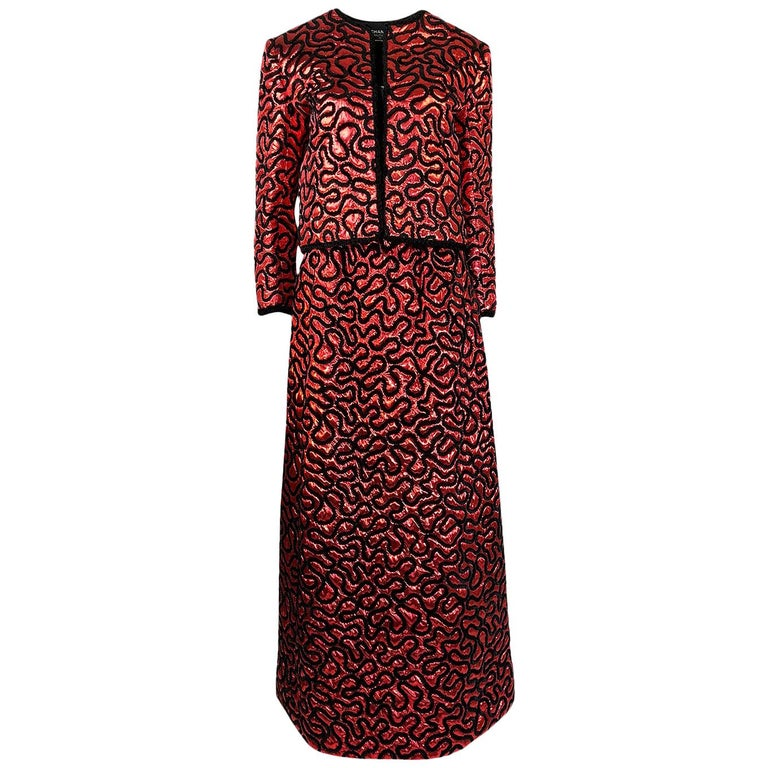 Fall 1981 Chanel Red Lurex and Chenille Cord Skirt and Jacket Set For Sale