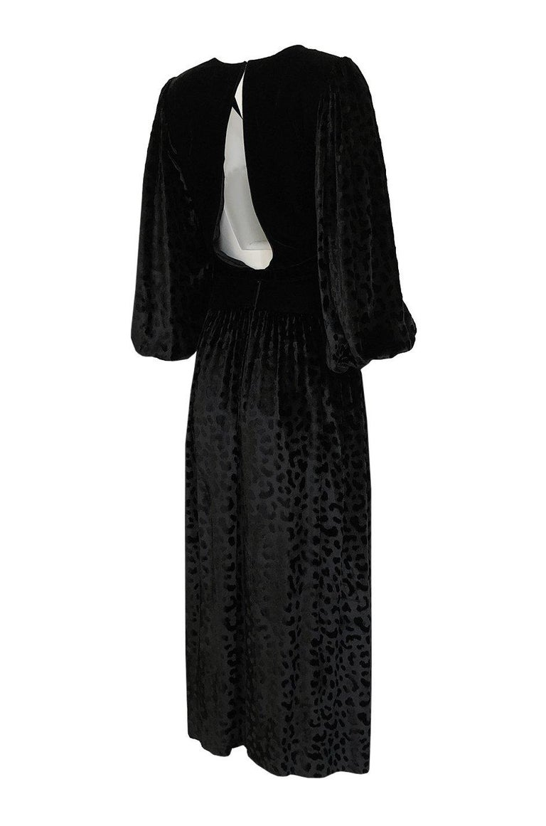 Yves did a series of these silk velvet dresses for the fall of 1986. I have included a photo of Yves with Catherine Deneuve in a predecessor to this collection from 1985 and you can see the evolution of the printed velvet from that. It is the