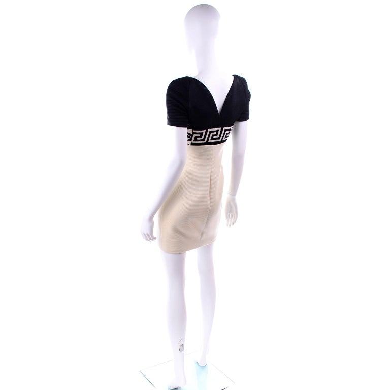 Fall 1991 Atelier Versace Gianni Vintage Black & Cream & White Dress For Sale 1