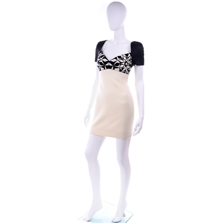 Fall 1991 Atelier Versace Gianni Vintage Black & Cream & White Dress For Sale 2