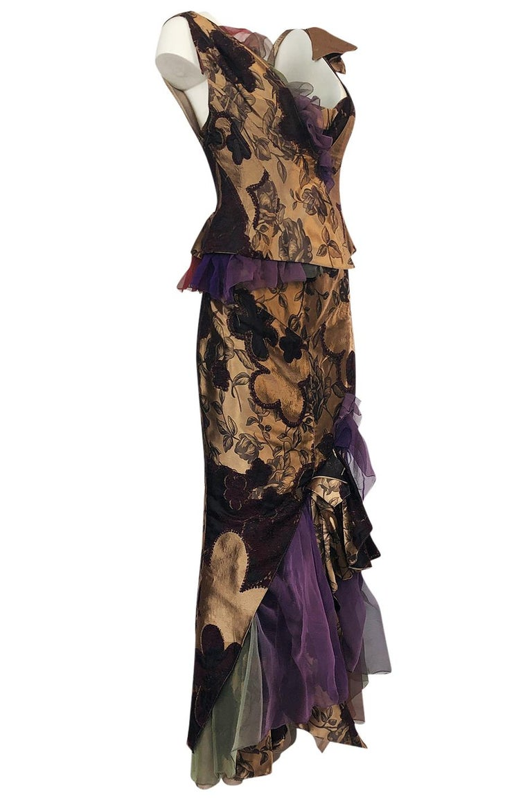 Black Fall 1992 Christian Lacroix Elaborate Gold & Silk Corset Top & Skirt For Sale