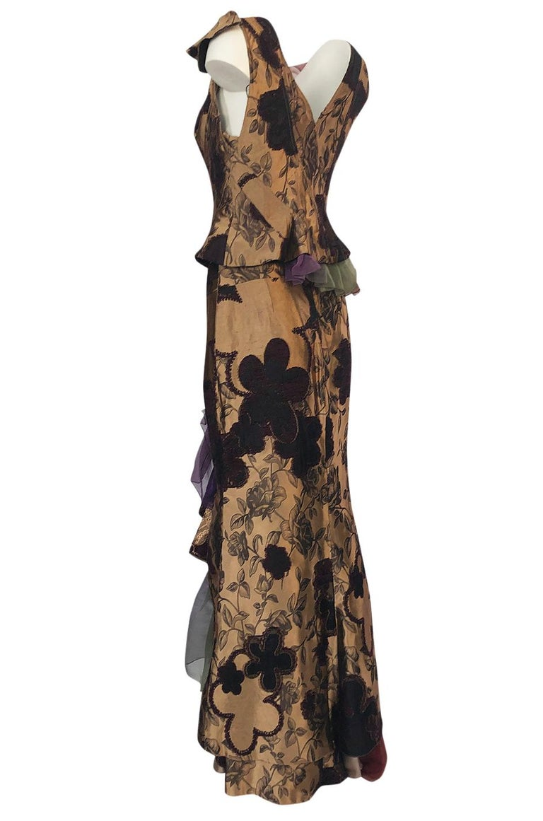 Women's Fall 1992 Christian Lacroix Elaborate Gold & Silk Corset Top & Skirt For Sale