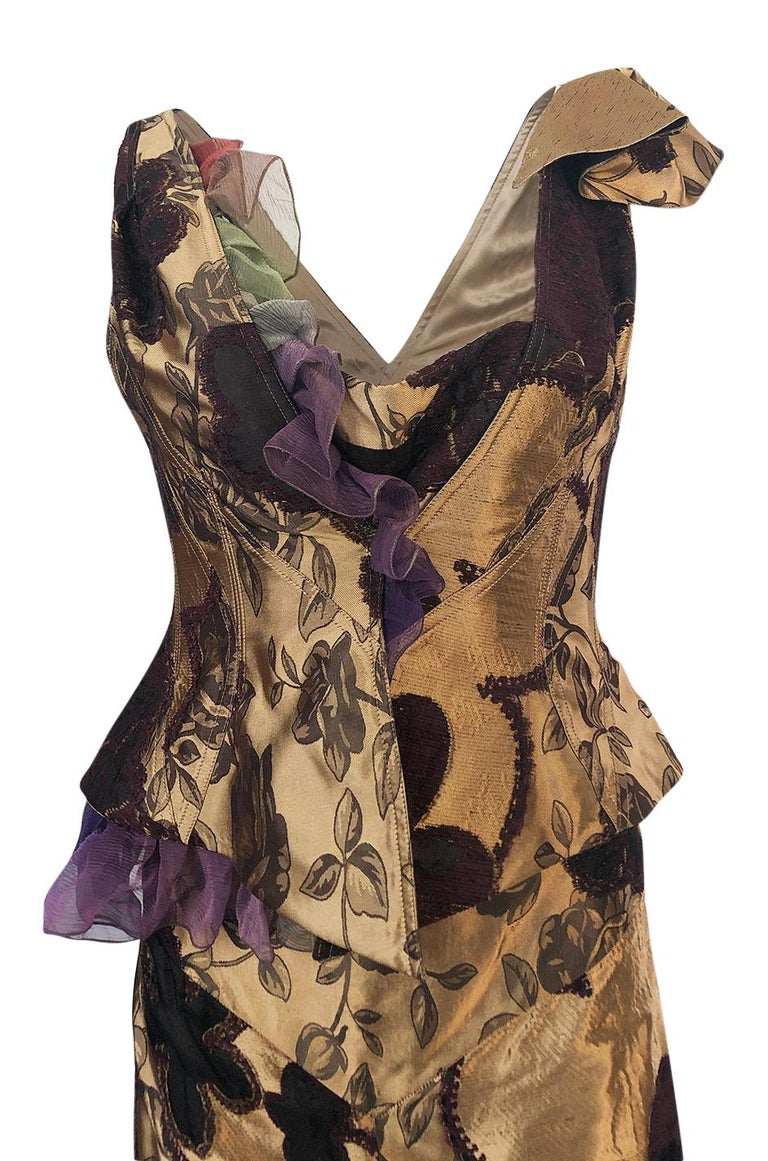 Fall 1992 Christian Lacroix Elaborate Gold & Silk Corset Top & Skirt For Sale 1