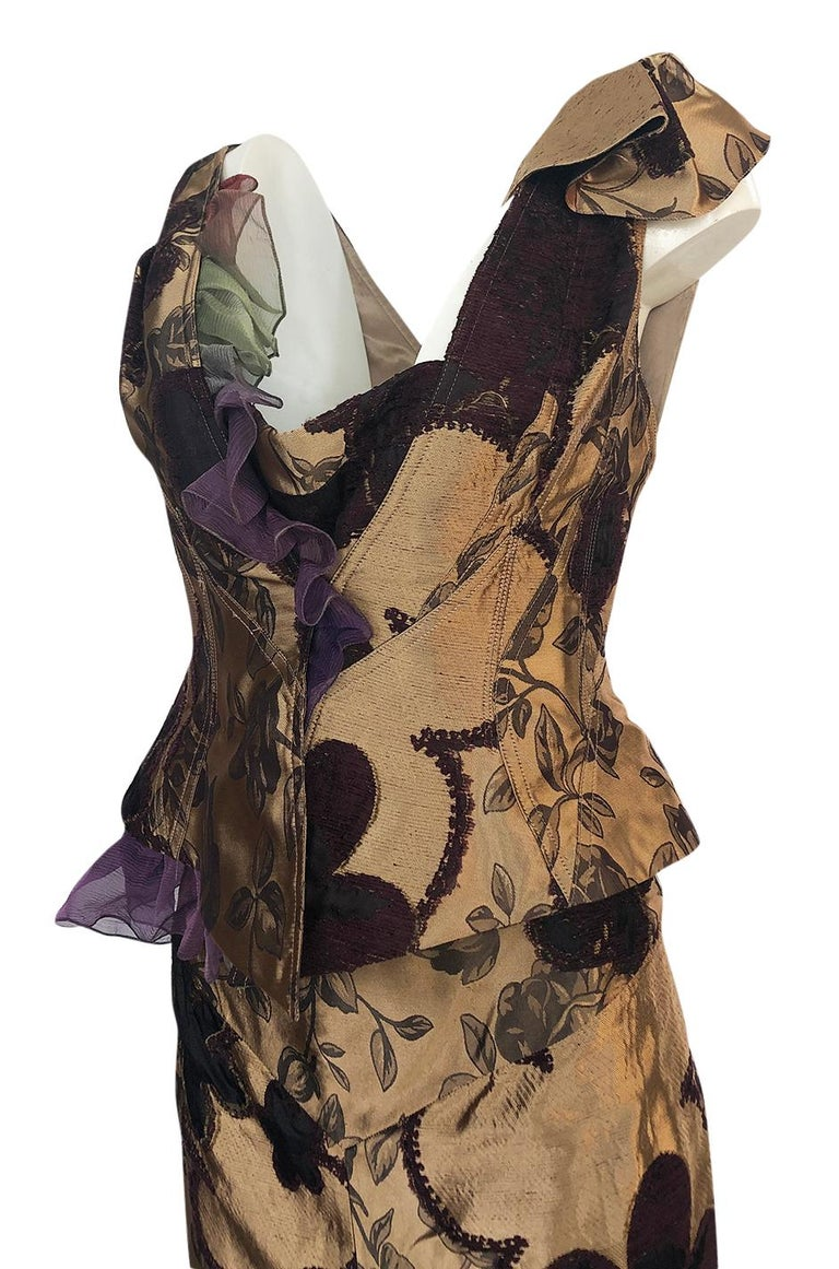 Fall 1992 Christian Lacroix Elaborate Gold & Silk Corset Top & Skirt For Sale 2