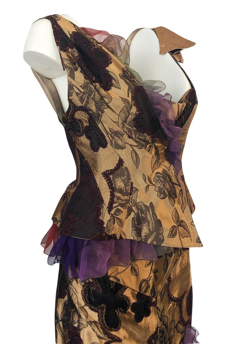 Fall 1992 Christian Lacroix Elaborate Gold & Silk Corset Top & Skirt For Sale 3