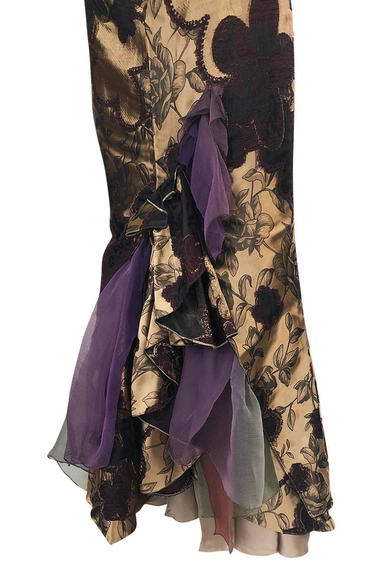 Fall 1992 Christian Lacroix Elaborate Gold & Silk Corset Top & Skirt For Sale 4