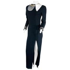 Fall 1992 Geoffrey Beene Black Wool Crepe Long Dress w/ Gold/Silver Wrap Detail