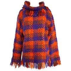 Fall 1993 Yves Saint Laurent Documented Fringed Knit Tunic Mini Dress