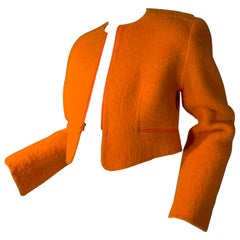 Fall 1996 Geoffrey Beene Orange Mohair Cropped Jacket With Zippers Size 6