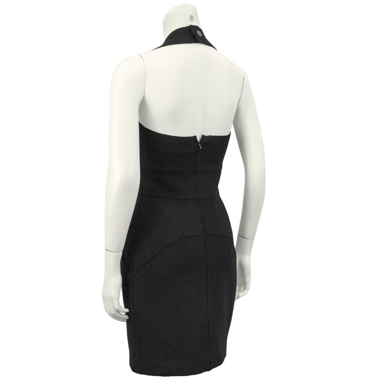 Fall 1999 Chanel Black Wool Halter Dress In Excellent Condition For Sale In Toronto, Ontario