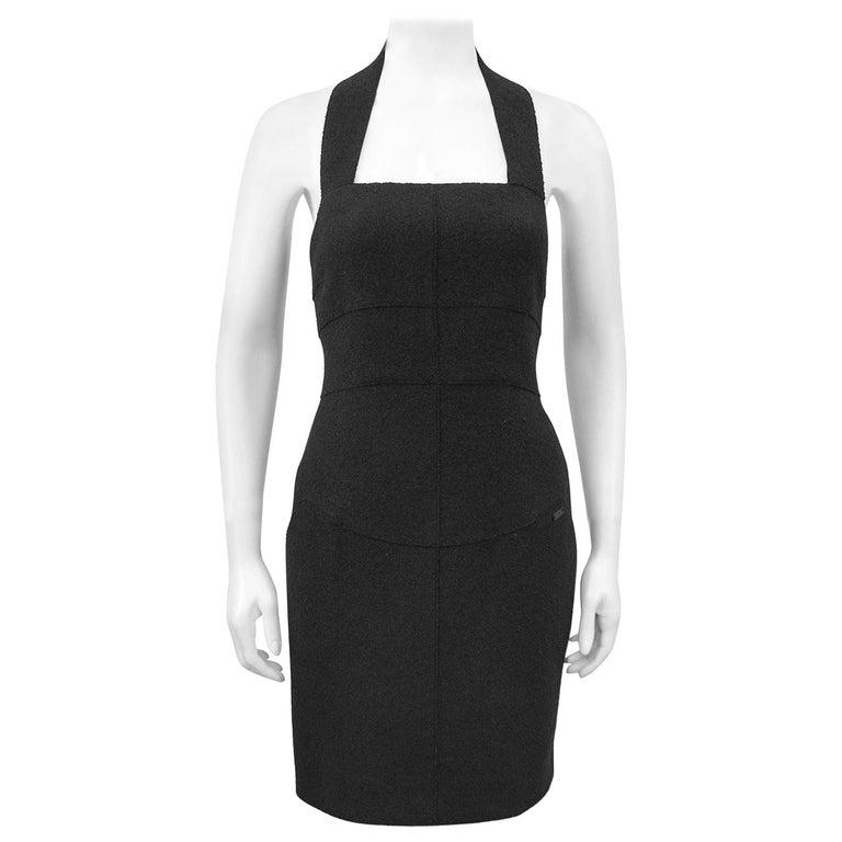 Fall 1999 Chanel Black Wool Halter Dress For Sale