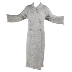 Fall 1999 Vintage Long Chanel Coat in Cream Brown & Blue Lesage Tweed