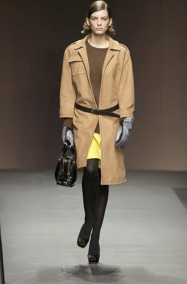 Fall 2003 Runway Ostrich Print Prada Leather Coat For Sale 6