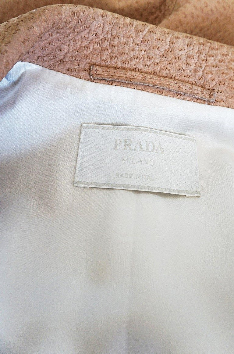 Fall 2003 Runway Ostrich Print Prada Leather Coat For Sale 5