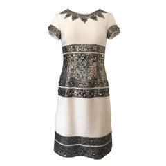 Fall 2007 Oscar de la Renta Sequin & Bead on Ivory Boucle Wool Runway Dress