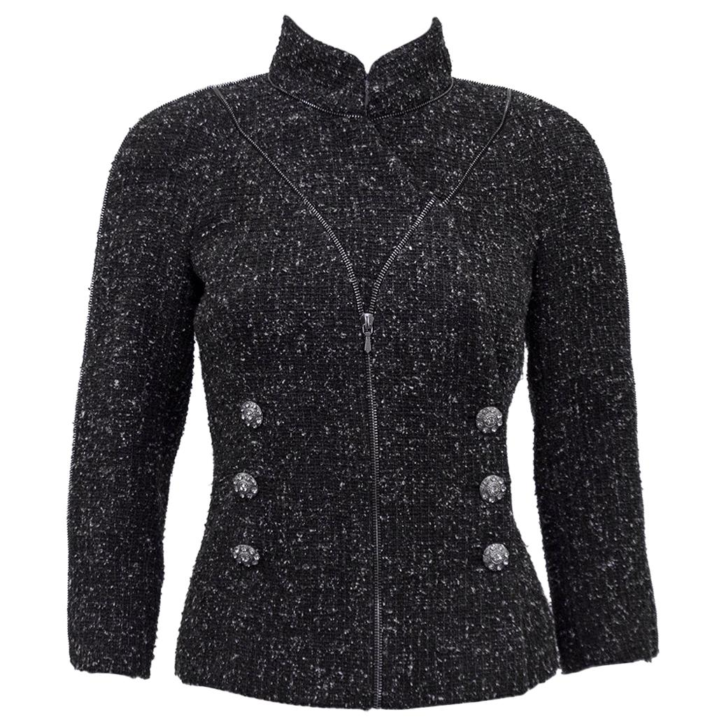 Fall 2008 Chanel Steel Gray Boucle Double Breasted Blazer
