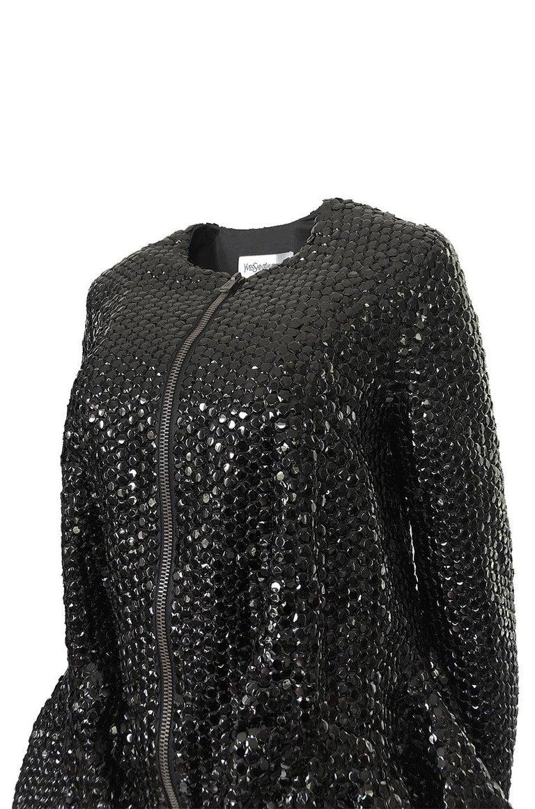 Fall 2008 Yves Saint Laurent by Stefano Pilati Runway Metal Sequin Coat For Sale 5