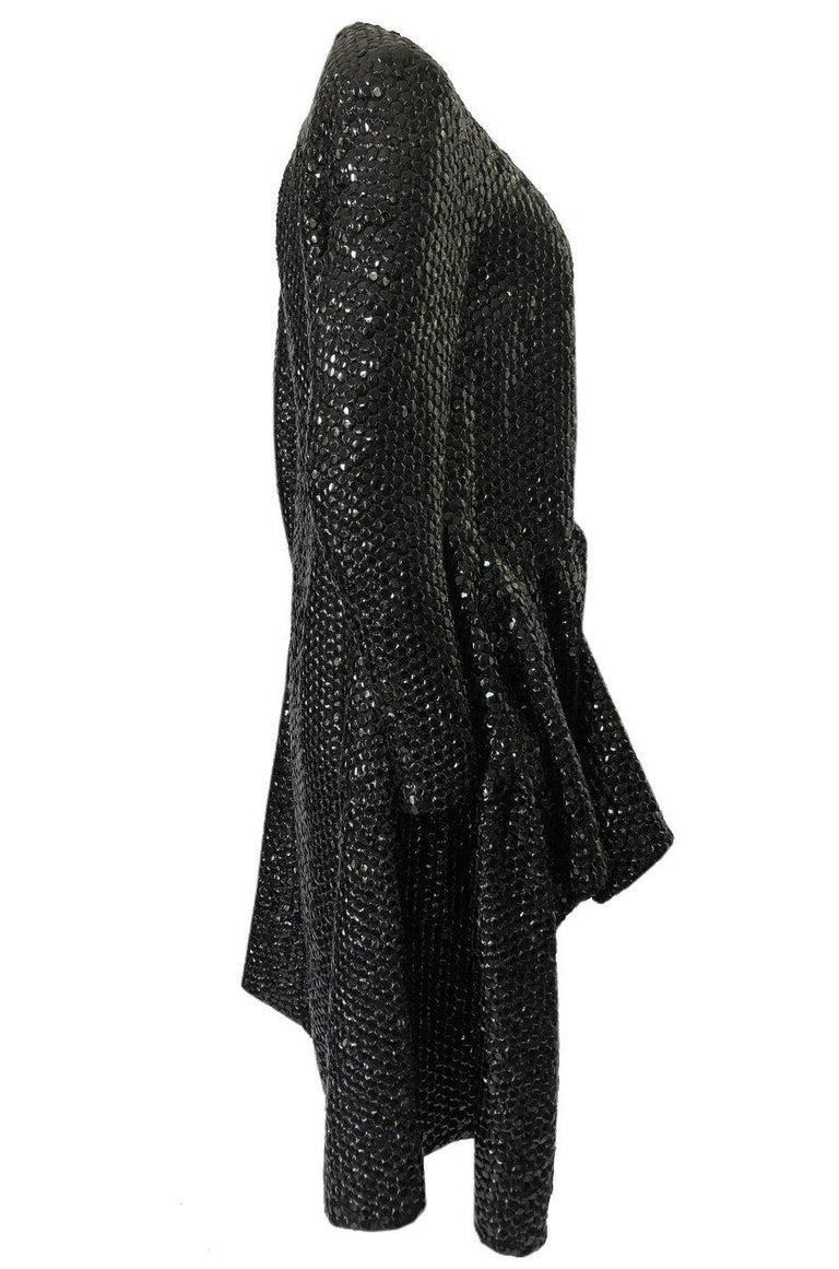 Black Fall 2008 Yves Saint Laurent by Stefano Pilati Runway Metal Sequin Coat For Sale