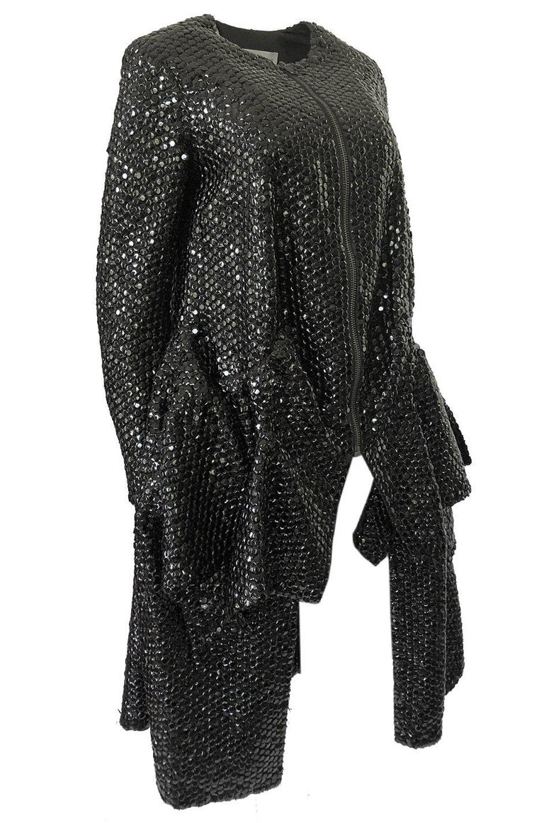 Fall 2008 Yves Saint Laurent by Stefano Pilati Runway Metal Sequin Coat In Excellent Condition For Sale In Rockwood, ON
