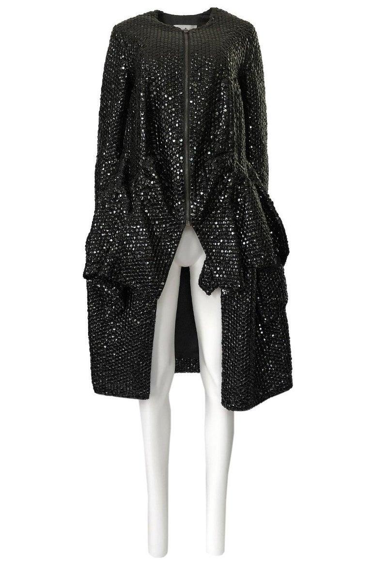 Fall 2008 Yves Saint Laurent by Stefano Pilati Runway Metal Sequin Coat For Sale 2