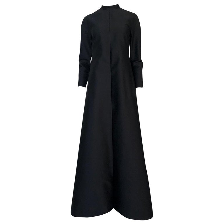 Fall 2013 Valentino Runway Finale Long Sleeve Simple & Graceful Black Dress For Sale
