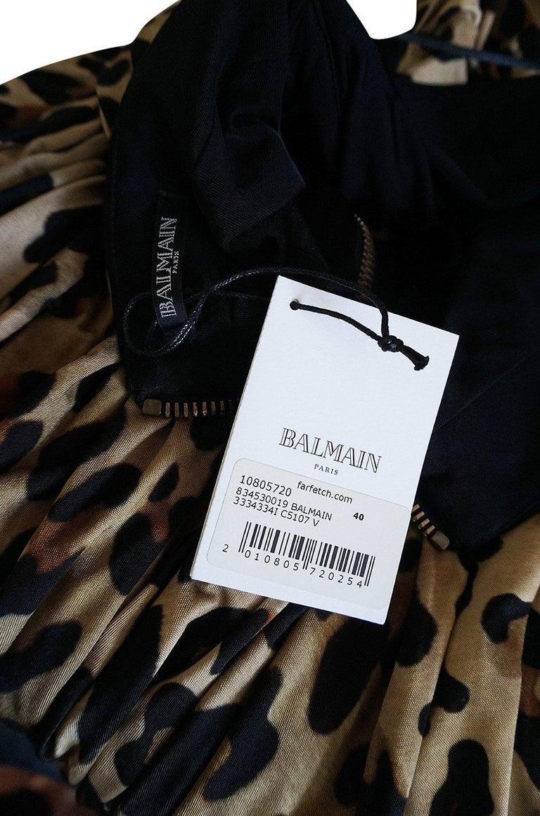 Fall 2014 Balmain Full Length Leopard Silk Jersey Backless Halter Dress For Sale 8