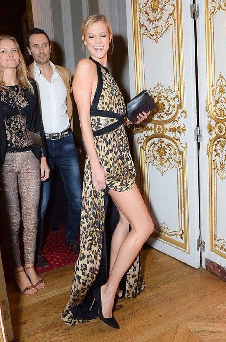 Fall 2014 Balmain Full Length Leopard Silk Jersey Backless Halter Dress For Sale 10