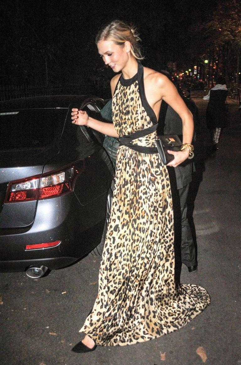 Fall 2014 Balmain Full Length Leopard Silk Jersey Backless Halter Dress For Sale 11