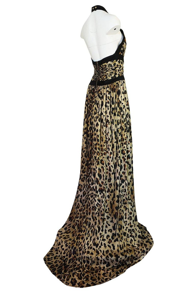 Fall 2014 Balmain Full Length Leopard Silk Jersey Backless Halter Dress In Excellent Condition For Sale In Rockwood, ON