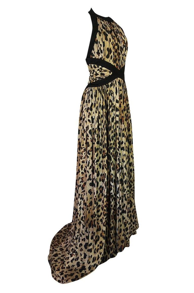 Women's Fall 2014 Balmain Full Length Leopard Silk Jersey Backless Halter Dress For Sale