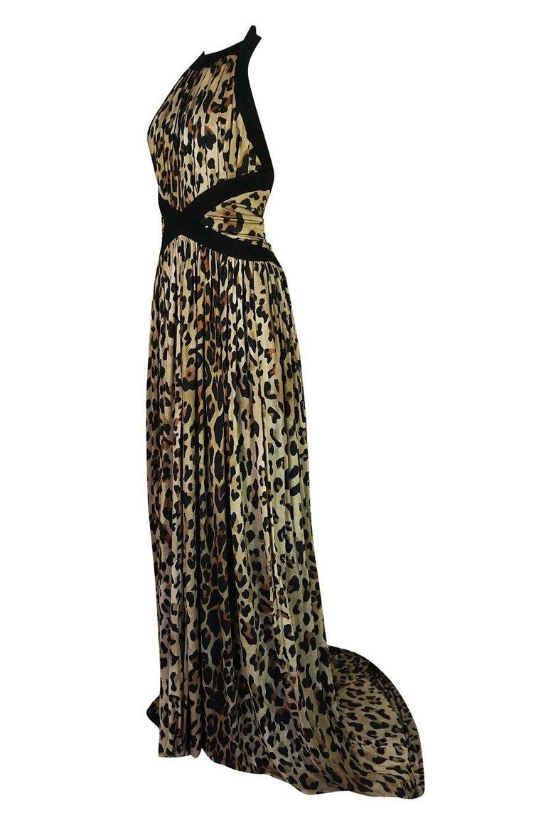 Fall 2014 Balmain Full Length Leopard Silk Jersey Backless Halter Dress For Sale 1