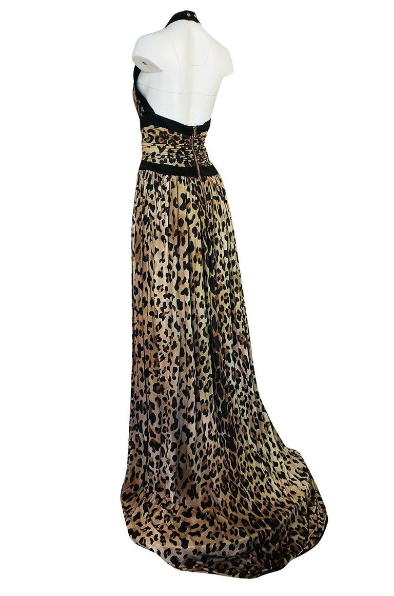 Fall 2014 Balmain Full Length Leopard Silk Jersey Backless Halter Dress For Sale 2