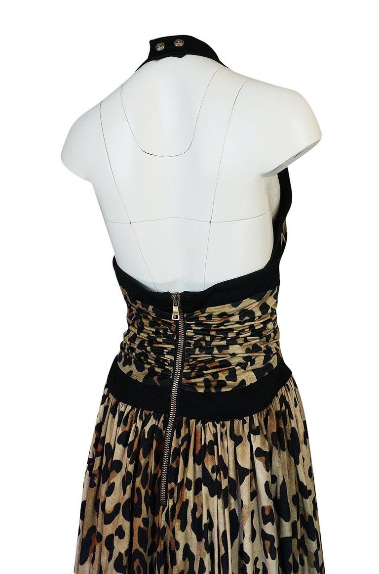 Fall 2014 Balmain Full Length Leopard Silk Jersey Backless Halter Dress For Sale 4