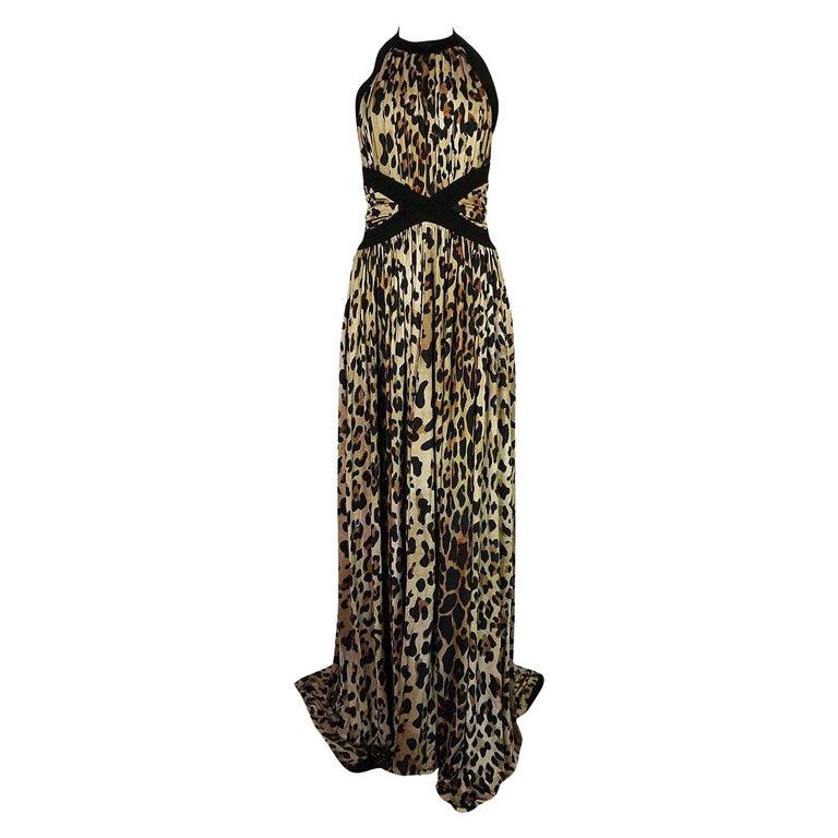 Fall 2014 Balmain Full Length Leopard Silk Jersey Backless Halter Dress For Sale