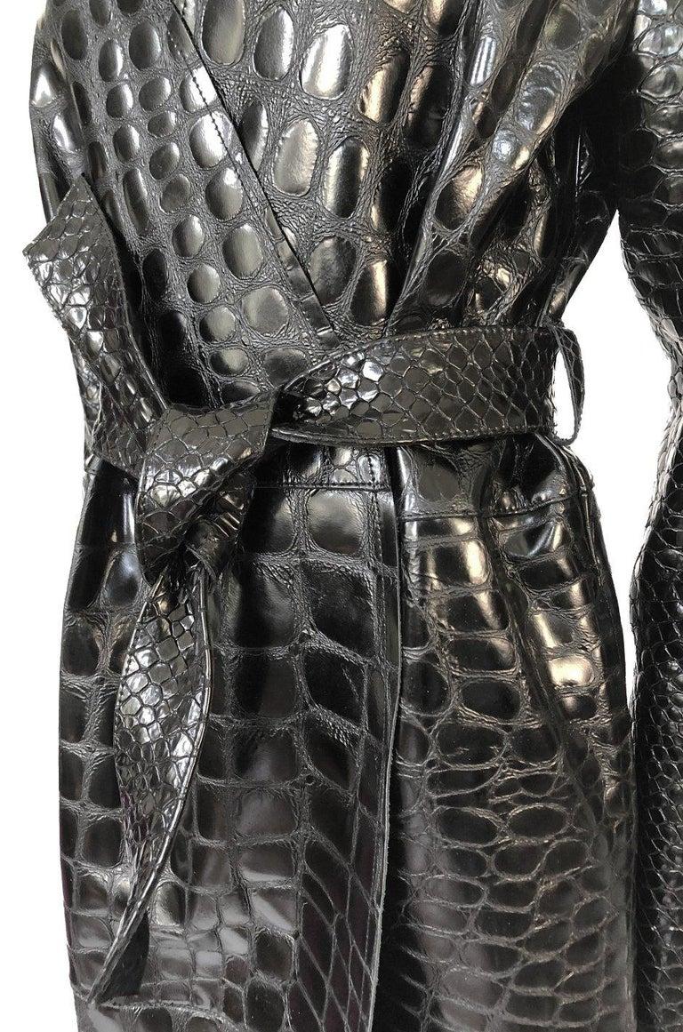 Fall 2017 The Attico 'Maria' Crocodile Embossed Glossed Leather Wrap Coat For Sale 5