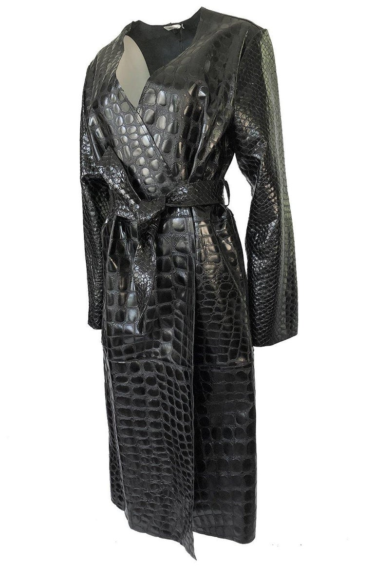 Black Fall 2017 The Attico 'Maria' Crocodile Embossed Glossed Leather Wrap Coat For Sale