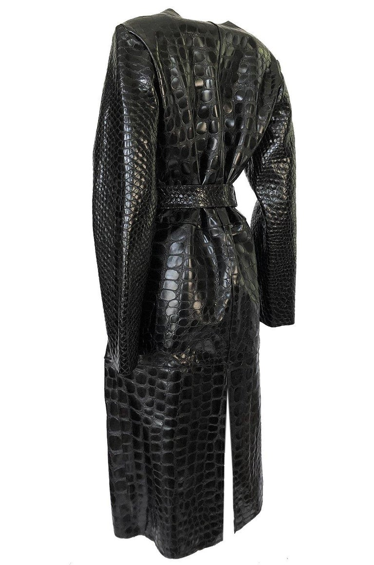 Fall 2017 The Attico 'Maria' Crocodile Embossed Glossed Leather Wrap Coat In New Condition For Sale In Rockwood, ON