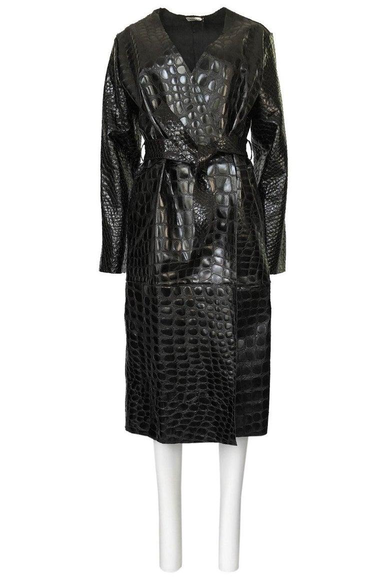 Women's Fall 2017 The Attico 'Maria' Crocodile Embossed Glossed Leather Wrap Coat For Sale