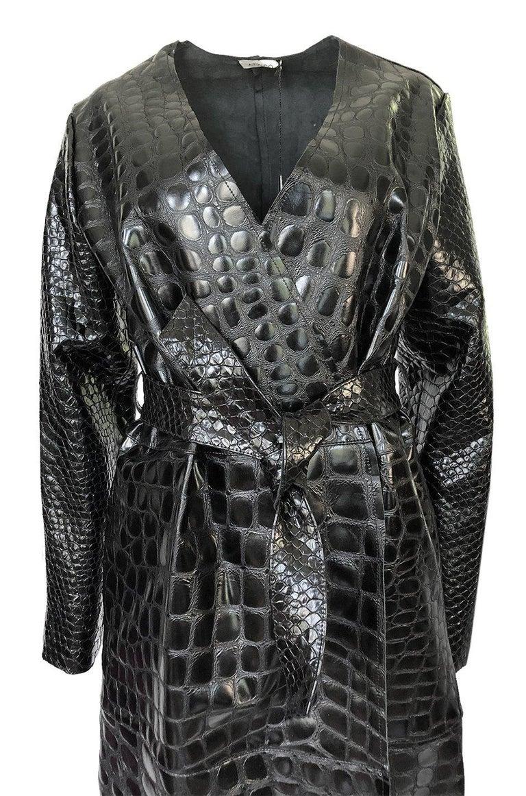 Fall 2017 The Attico 'Maria' Crocodile Embossed Glossed Leather Wrap Coat For Sale 1