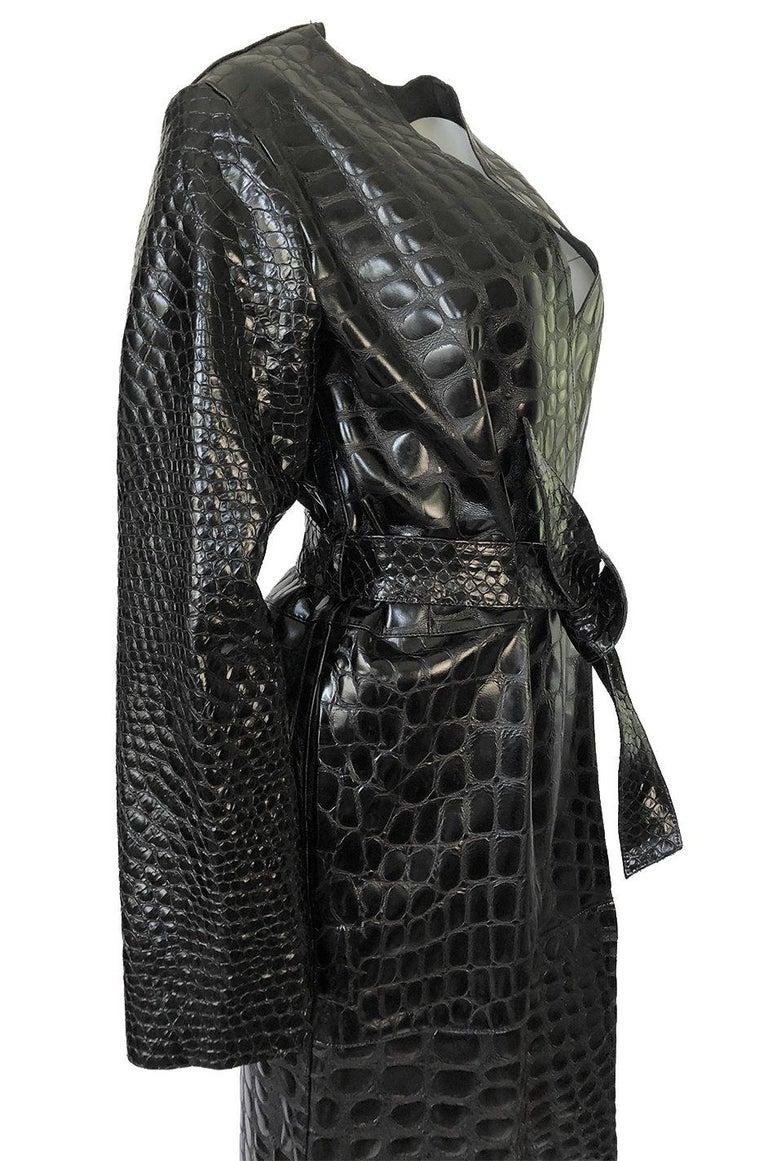 Fall 2017 The Attico 'Maria' Crocodile Embossed Glossed Leather Wrap Coat For Sale 2