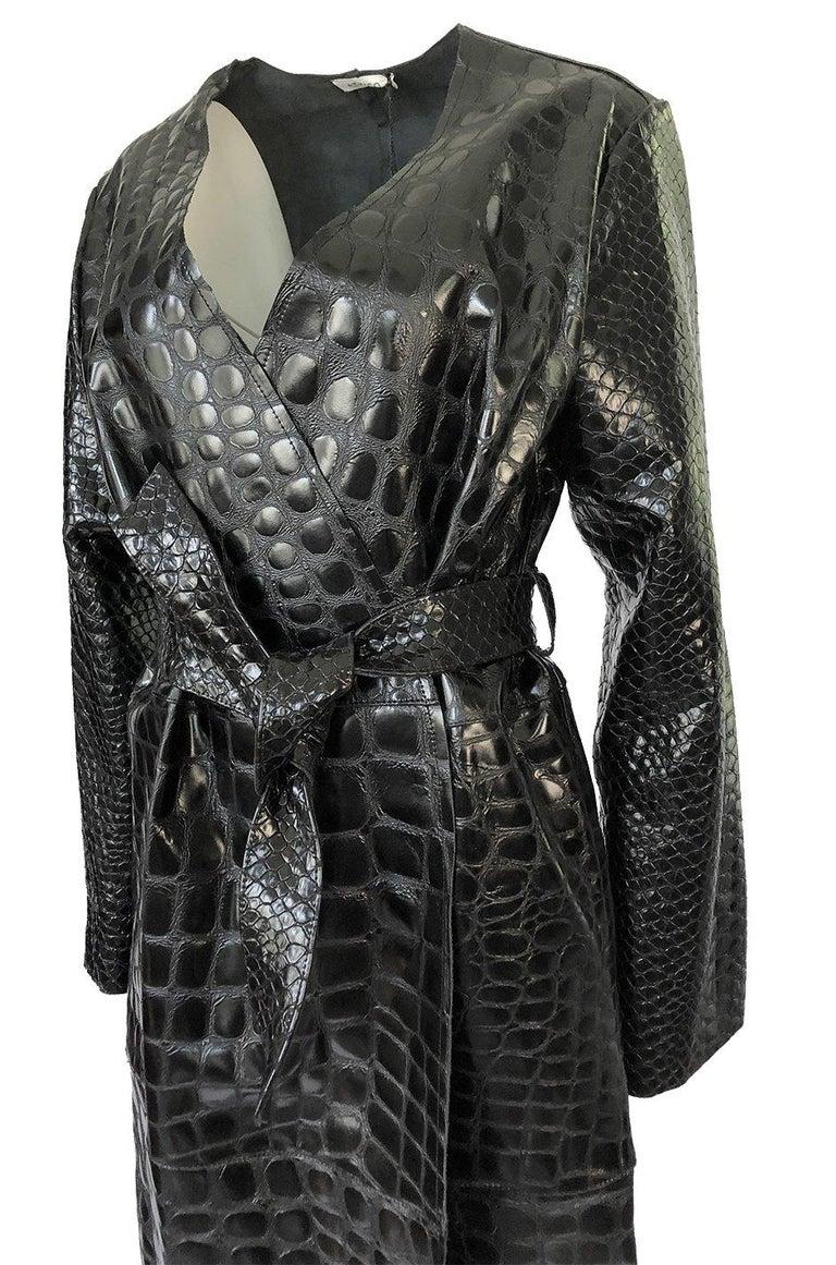 Fall 2017 The Attico 'Maria' Crocodile Embossed Glossed Leather Wrap Coat For Sale 3
