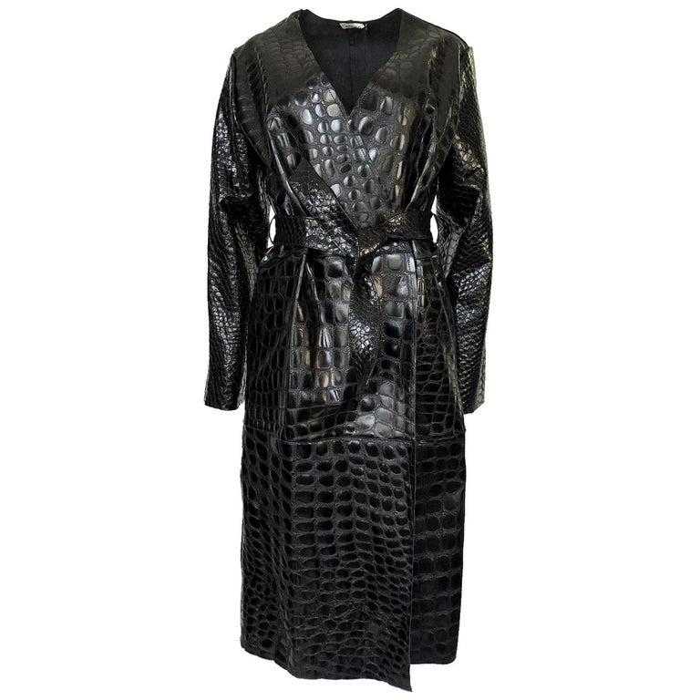 3d39cba02 Fall 2017 The Attico 'Maria' Crocodile Embossed Glossed Leather Wrap Coat