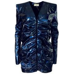Fall 2017 Yves Saint Laurent Blue Patent Leather Ruffled Runway Dress